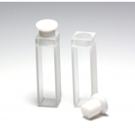 UV Quartz Cuvette, 10mm, 3.5mL, PTFE Stopper, Pack of 2