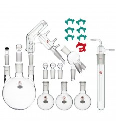 Complete Set of Short Path Distillation Apparatus, with 2000mL 3-Neck Flask, Cow Receiver, Cold Trap, 250mL Flasks