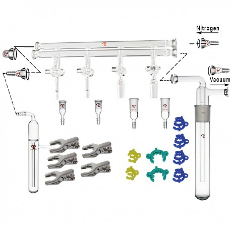 Complete Set of Compact Schlenk Line: Double-Manifold with Size 15 O-Ring Joints, Cold Trap Assembly, Bubbler and Accessories