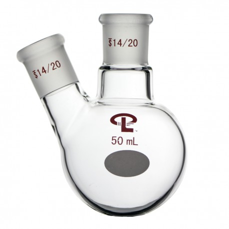 50mL  14/20  Angled  Two Neck Flask