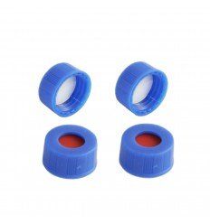 9-425 Screw Thread Caps with White PTFE/Red Silicone Septa, 6 mm Center Hole, Pack of 100