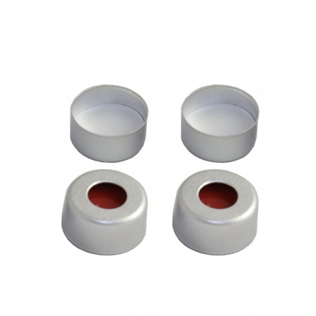 11 mm Crimp-Top Aluminum Caps with White PTFE/Red silicone Septa, 5.5 mm Center Hole, Pack of 100