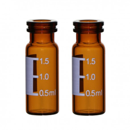 2mL Amber Vials, 11 mm Snap-Top, Graduated Write-on Spot, Pack of 100