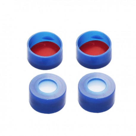 11 mm Snap-Top Caps with Red PTFE/White Silicone Septa, Pack of 100