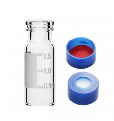 2 mL Clear Snap-Top Vials and 11 mm Caps, ID Patch, Red PTFE/White silicone Septa, Convenience Pack of 100